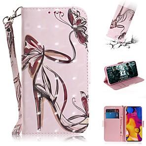זול תיק טלפון אחר-מקרה ל lg v40 thinq / lg stylo 5 / lg g8 thinq ארנק / מחזיק כרטיס / עמיד הלם מקרי גוף מלא עקבים גבוהים עור pu