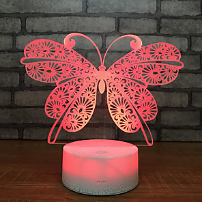 cheap 3D Night Lights-Beautiful Butterfly 3D Night Light Lamp Sleep Home Decor Romantic Birthday Gift Christmas Gift Girl