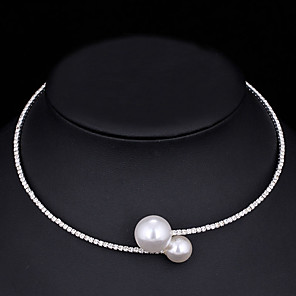 cheap Necklaces-Women's Choker Necklace Torque Simple Elegant Korean Sweet Imitation Pearl Chrome Imitation Diamond Gold Silver 44 cm Necklace Jewelry 1pc For Wedding Gift Daily Engagement Work