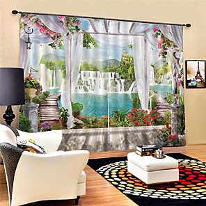 cheap Curtains Drapes-3D Digital Printing  Scenery Privacy Polyester Two Panels Curtain For Bedroom Living Room Waterproof Dust-proof Decorative  Curtains