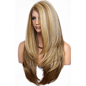 cheap Synthetic Trendy Wigs-Synthetic Wig Natural Straight Layered Haircut Wig Very Long Flaxen Synthetic Hair 68~72 inch Women's New Arrival Brown