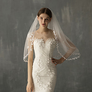 cheap Wedding Veils-Two-tier Stylish Wedding Veil Elbow Veils with Fringe Tulle / Angel cut / Waterfall