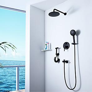 cheap Hand Shower-Shower Faucet - Contemporary N / A Wall Installation Ceramic Valve Bath Shower Mixer Taps
