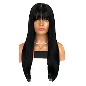 cheap Synthetic Lace Wigs-Synthetic Lace Front Wig Natural Straight Neat Bang Lace Front Wig Long Black#1B Dark Red Synthetic Hair 18-26 inch Women's Adjustable Heat Resistant Party Red Black / Doll Wig