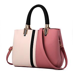 cheap Handbag & Totes-Women's Zipper PU(Polyurethane) / PU Top Handle Bag Color Block Black / Blushing Pink / Orange / Fall & Winter