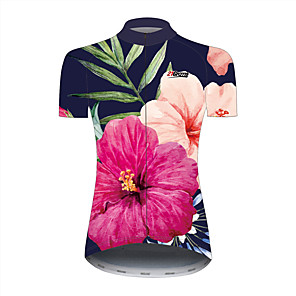 cheap Cycling Jerseys-21Grams Floral Botanical Hawaii Women's Short Sleeve Cycling Jersey - Black / Red Bike Jersey Top Breathable Quick Dry Reflective Strips Sports 100% Polyester Mountain Bike MTB Road Bike Cycling