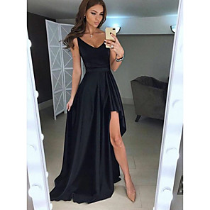 cheap Party Hats-A-Line Elegant Formal Evening Dress Plunging Neck Sleeveless Asymmetrical Satin with Split Front 2020