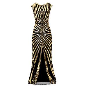 cheap Evening Dresses-The Great Gatsby Charleston Mermaid / Trumpet Elegant Vintage Inspired Formal Evening Dress Jewel Neck Sleeveless Floor Length Polyester with Beading Sequin 2020