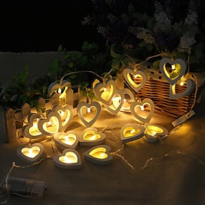 cheap LED String Lights-2m 20 LED String Lights Wooden Heart Shape Lamp for Festival Party Wedding Home Decoration Warm White Creative