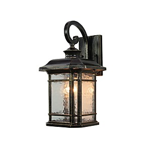 cheap Wall Sconces-Contemporary Design 1-Light Bronze Outdoor Wall Sconce Glass Cylinder Lantern Rectangular Lantern Wall Light