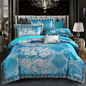 cheap Floral Duvet Covers-Duvet Cover Sets Damask Polyester / Viscose Jacquard 4 Piece Bedding Set With Pillowcase Bed Linen Sheet Single Double Queen King Size Quilt Covers Bedclothes