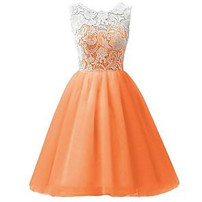 cheap Earrings-Kids Girls' Sweet Party Jacquard Flower Lace Pleated Sleeveless Dress Blushing Pink