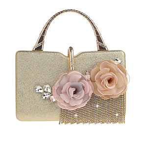 cheap Clutches & Evening Bags-Women's Flower PU(Polyurethane) / PU Evening Bag Solid Color Black / Champagne / Gold / Fall & Winter