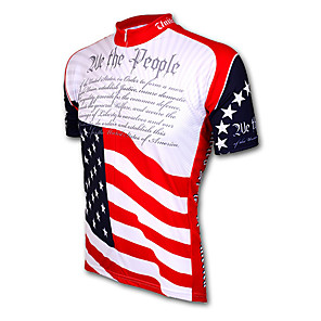 cheap Cycling Jerseys-21Grams American / USA National Flag Men's Short Sleeve Cycling Jersey - Red+Blue Bike Jersey Top Breathable Quick Dry Moisture Wicking Sports Terylene Mountain Bike MTB Road Bike Cycling Clothing