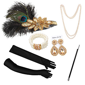 cheap Costumes Jewelry-Necklace Earrings Costume Accessory Sets Gloves Necklace Retro Vintage 1920s The Great Gatsby Artificial feather For The Great Gatsby Cosplay Halloween Carnival Women's Costume Jewelry Fashion Jewelry