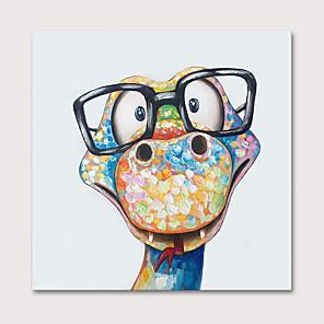 economico Quadri di animali-Hang-Dipinto ad olio Dipinta a mano - Animali Pop Art Modern Include interno della montatura