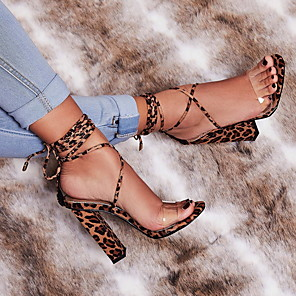 cheap Synthetic Trendy Wigs-Women's Heels Lace up Chunky Heel Buckle / Animal Print Suede Spring &  Fall / Summer Leopard / Khaki / Daily