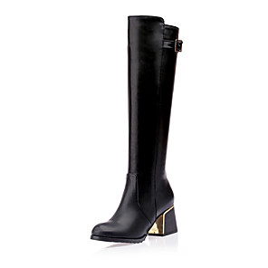 cheap Women's Boots-Women's Boots Knee High Boots Chunky Heel Round Toe Buckle PU Knee High Boots Classic Fall & Winter Black / Brown / White / Party & Evening