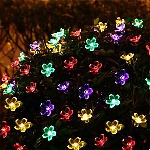 cheap LED String Lights-7m New Solar System Lighting 50 LED Flower Raincoat Chain Fairy Tree Christmas Tree Lighting Festival Wedding New Year Decoration Ring 1set