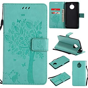 cheap Other Phone Case-Case For Motorola Moto E4 Plus Wallet / Card Holder / Flip Full Body Cases Tree / Flower Hard PU Leather