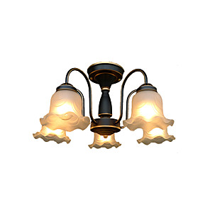 cheap Pendant Lights-5-Light Glass Chandeliers American Country Pendant Light Fixtures Round 5 Lights Antique Ceiling Lamp Semi Flush Mount for Hallway Studyroom