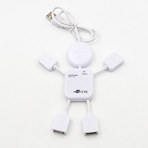 cheap USB Hubs & Switches-4 Port USB 2.0 High Speed Hub for PC Laptop Doll Man Design White