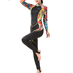 cheap Wetsuits, Diving Suits & Rash Guard Shirts-HISEA® Women's Rash Guard Dive Skin Suit Spandex Diving Suit High Elasticity UPF50+ Long Sleeve Back Zip - Surfing Water Sports Reactive Print Autumn / Fall Spring Summer