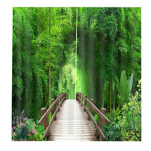 cheap Curtains Drapes-3D Printing Bamboo Forest Bridge Hot Selling Home Decoration Cloth Curtain Thickening Pure Polyester Multifunctional Bath Curtain/Curtain