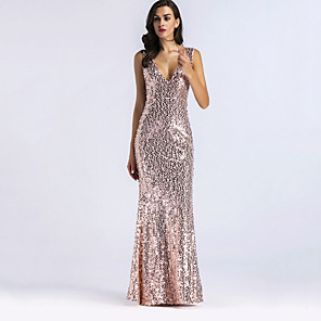 cheap Historical & Vintage Costumes-Diva Disco 1980s Dress Women's Sequins Costume Golden Vintage Cosplay Prom Sleeveless Floor Length Mermaid / Trumpet