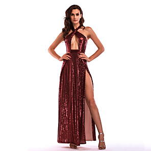 cheap Historical & Vintage Costumes-Diva Disco 1980s Dress Women's Sequins Costume Burgundy / Pink Vintage Cosplay Prom Sleeveless Floor Length A-Line