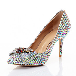 cheap Wedding Shoes-Women's Wedding Shoes Glitter Crystal Sequined Jeweled Stiletto Heel Pointed Toe Bowknot / Sparkling Glitter PU Sweet / Minimalism Spring & Summer / Fall & Winter Rainbow / Party & Evening