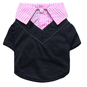 cheap Dog Clothes-Dog Shirt / T-Shirt Plaid / Check Casual / Daily Simple Style Dog Clothes Yellow Blue Pink Costume Polyester XS S M L