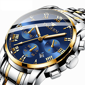 cheap Video Door Phone Systems-Men's Dress Watch Quartz Formal Style Modern Style Stainless Steel Black / Silver / Gold 30 m Calendar / date / day Noctilucent Analog Luxury Fashion - Golden+Silver Black / Blue black / gold One