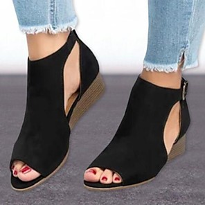 cheap Wedding Shoes-Women's Sandals Wedge Sandals Summer Wedge Heel Peep Toe Casual Comfort Daily Solid Colored Suede Walking Shoes Black / Brown / Beige