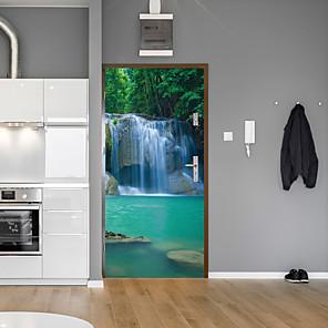 cheap Wall Stickers-Forest Falls Door Stickers Decorative Waterproof Door Decal Decor