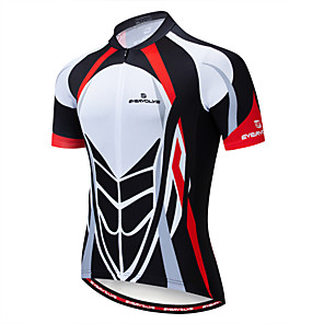 cheap Cycling Jerseys-EVERVOLVE Men's Short Sleeve Cycling Jersey Cotton Lycra Navy Red+Brown Black / Red Bike Jersey Top Mountain Bike MTB Road Bike Cycling Breathable Quick Dry Moisture Wicking Sports Clothing Apparel
