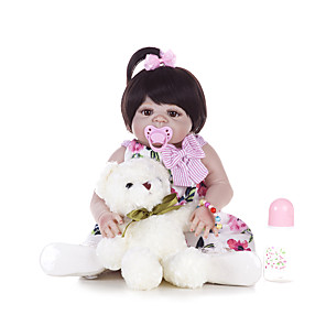 cheap Christmas Toys-22 inch Reborn Doll Baby Girl Kids / Teen Full Body Silicone with Clothes and Accessories for Girls' Birthday and Festival Gifts