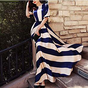 cheap Maxi Dresses-Women's Maxi long Dress Blue & White Swing Dress - Long Sleeve Striped Print Spring Summer Elegant Holiday Screen Color S M L XL XXL XXXL XXXXL