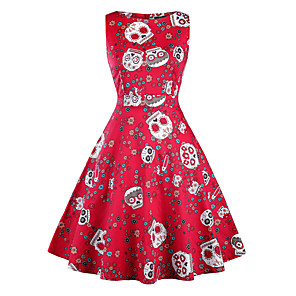cheap Historical & Vintage Costumes-Vintage Inspired Dress Women's Spandex Costume White+Red / Print / Green Vintage Cosplay Sleeveless Midi