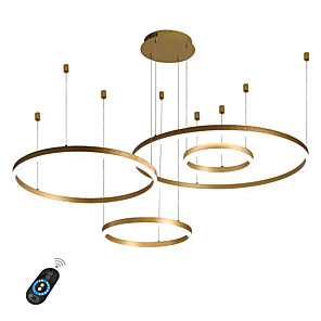 cheap Dimmable Ceiling Lights-4-Lights LED 110W Ring Circle Chandelier LED Modern Pendant Lights Gold Coffee for Living Room Bar Room Office 4 Layers Dimmable with Remote Control