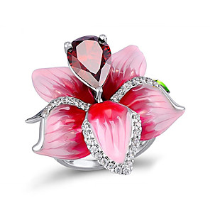 cheap Earrings-Women's Statement Ring Ring Cubic Zirconia 1pc Pink Copper Silver-Plated Geometric Stylish Simple Party Gift Jewelry Classic Flower Cool