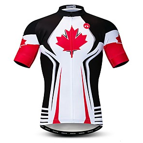 cheap Cycling Jerseys-21Grams Men's Short Sleeve Cycling Jersey Polyester Elastane Lycra Red and White Canada National Flag Bike Jersey Top Mountain Bike MTB Road Bike Cycling Breathable Quick Dry Moisture Wicking Sports