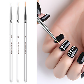 cheap Rhinestone & Decorations-3pcs Nail Brush Rod Pull Pen Painted Pen Column Gel Drawing Painting Acrylic Nail Pen for Manicure Tool Kit