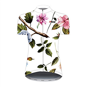cheap Cycling Jersey & Shorts / Pants Sets-21Grams Floral Botanical Hawaii Women's Short Sleeve Cycling Jersey - Black / White Bike Jersey Top Breathable Quick Dry Reflective Strips Sports 100% Polyester Mountain Bike MTB Road Bike Cycling