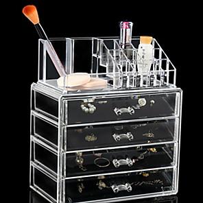 cheap Jewelry & Cosmetic Storage-Storage Organization Cosmetic Makeup Organizer Plastic Rectangle Shape Multilayer