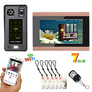 cheap Video Door Phone Systems-7inch Wired Wifi Fingerprint IC Card  Video Door Phone Doorbell Intercom System with Door Access Control SystemSupport Remote APP unlocking Recording