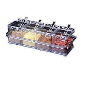 cheap Jars & Boxes-Crystal 4pcs Seasoning Box Jar Cruet Acrylic Four Grain Combination