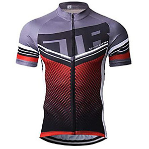 cheap Cycling Jerseys-21Grams Dot Stripes Men's Short Sleeve Cycling Jersey - Red+Brown Bike Jersey Top Breathable Quick Dry Moisture Wicking Sports Terylene Mountain Bike MTB Clothing Apparel / Micro-elastic / Race Fit