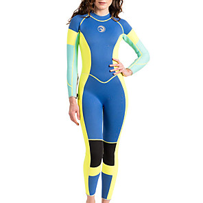 cheap Wetsuits, Diving Suits & Rash Guard Shirts-HISEA® Women's Full Wetsuit 3mm Neoprene Diving Suit Thermal / Warm Long Sleeve Swimming Diving Surfing Patchwork Classic Spring Fall Winter