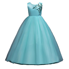 cheap Movie & TV Theme Costumes-Princess Floor Length Wedding / Pageant Flower Girl Dresses - Polyester / Tulle Sleeveless Jewel Neck with Belt / Pattern / Print